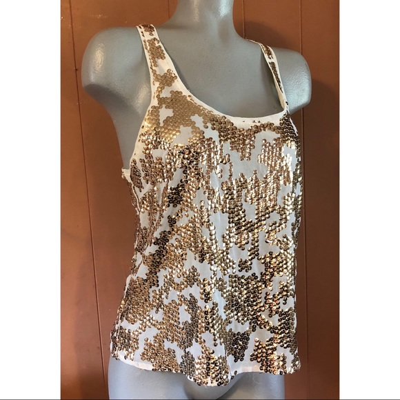Nollie Tops - Nollie Ivory Racerback with Gold Sequins, Medium